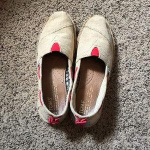 TOMS Shoes Canvas Tan and Orange Size 6